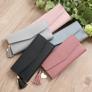 Fashion Women Faux Leather Long Wallet Card Slot Tassel Heart Charm Purse Clutch