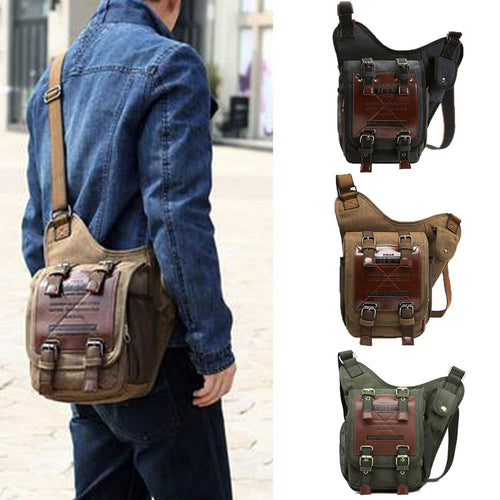 Men's Vintage Canvas Travel School Casual Shoulder Messenger Crossbody Bag