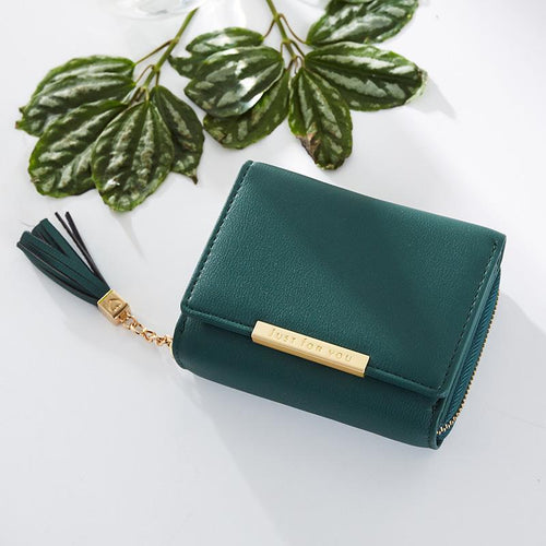 Fashion Tassel Zipper Short Wallet Female PU Coin Purse For Girls Small Leather Women Wallets Credit Card Pocket