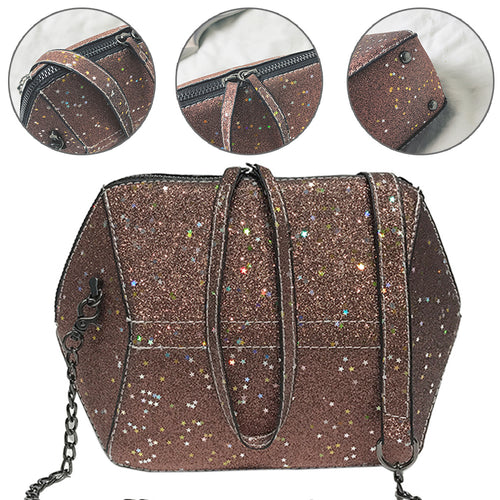 Fashion Women Sparkling Star Sequins Chain Crossbody Shoulder Bag Pouch Handbag