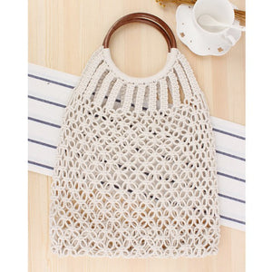 Hand-knitted Hollow Handbag Round Wooden Ring Rattan Handle Ladies Shopping Bag Cotton Rope Net Pocket Holiday Beach Bag