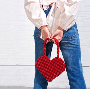 Small Group Fashion Love Handmade Bag Red / Bblack Top-Handle Bags