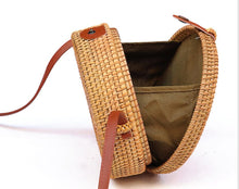 Load image into Gallery viewer, Round Straw Bags  Rattan Bag Handmade Woven  Body Bag Circle Bohemia Handbag