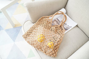 Hand Nets Woven Bag Women's Bag 2019 New Style Straw Bags Holiday Beach Bag Summer Knit Bag Large Capacity Soft Southeast Asia
