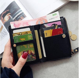 Fashion Women Short Wallet PU Leather Cherry Embroidery Coin Purse Card Holders Lady Girl Mini Money Bag