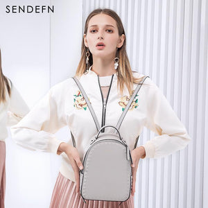 Sendefn Backpack Split Leather Women School Quality Bag Shoulder  Youth