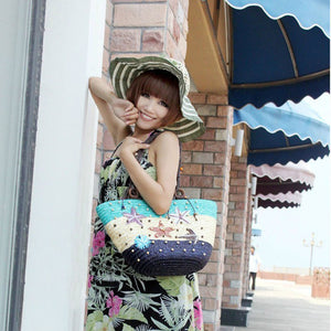 Straw Bag Fashion Women Shoulder Bags Large Capacity Beach Bag Wheat Pole Weave Handbag Starfish Ladies Tote