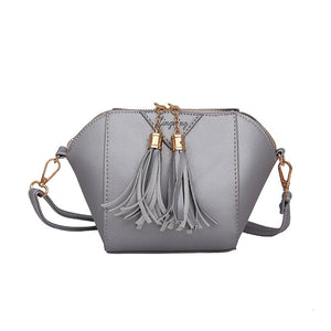 Women Fashion Faux Leather Small Handbag Tassel Zipper Crossbody Shoulder Bag