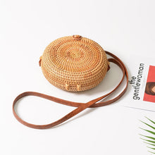 Load image into Gallery viewer, mini Round Straw Bag Women Summer Rattan Bags Handmade Woven Beach Cross Body Bag Square Bohemia Shoulder handbag