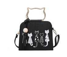 Load image into Gallery viewer, Cartoon four cats shoulder diagonal cross bag mobile handbags wooden beads tassel bag
