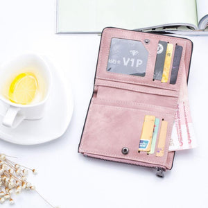 Women'S Wallets Small Mini Safe Money Bag ID Credit Card Holder Coin Purse Solid Carteira Mulheres Wallet Female Coin #120