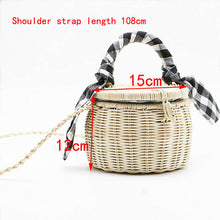 Load image into Gallery viewer, New rattan bag handbag lattice silk scarf portable straw bag cylinder small jar beach bag