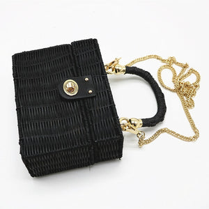 New rattan black straw Shoulder Bag Women hand-woven Messenger Bag Summer Beach Square box Straw Handbag For lady Bolsa Feminina
