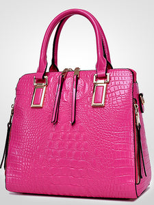 Women's Patent Leather Tote / Shoulder Messenger Bag Solid Colored Black / White / Fuchsia
