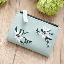 Load image into Gallery viewer, Embroidery Flower Faux Leather Women Girl Coin Purse Card Holder Short Wallet