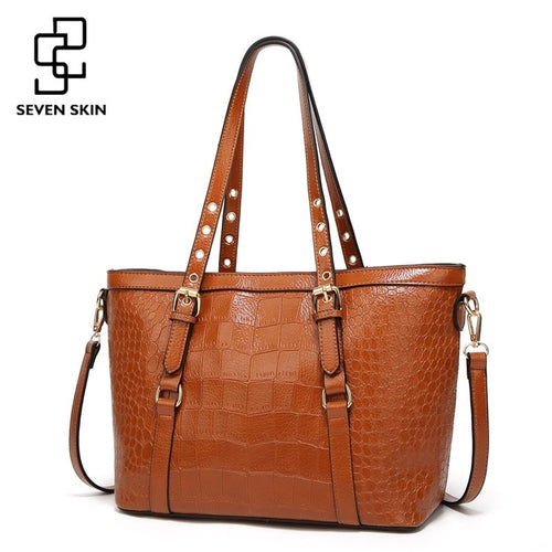 Women Large Capacity Shoulder Bag for Female Solid Crocodile Pattern Top-Handle Handbags