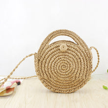 Load image into Gallery viewer, Fashion Women Round Grass Woven Zipper Closure Crossbody Shoulder Pouch Bag