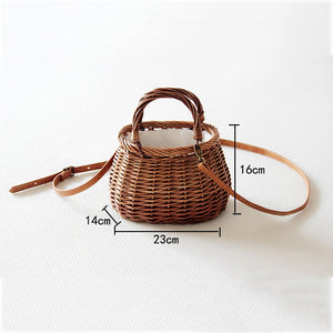 Ribbons Bow Tie Top-Handle Wicker Bags String Rural Natual Leather Strap Shoulder Bag Casual Handmade Woven Rattan Bags