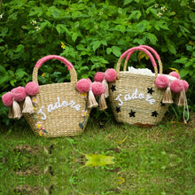 Load image into Gallery viewer, Beach Bag for Women Cute Handmade Straw Bags tassels pom pom Summer Vacation Handbags Drawstring Basket Bag Travel Tote