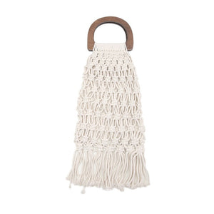 Handmade cotton woven wood handle womens handbags and purses hollow rope tassel beach female net straw tote evening clutch bags
