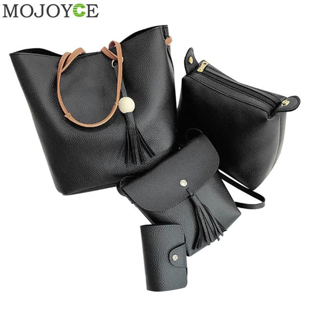 4pcs/Set Women Bag Tassel Pure PU Leather Composite Bag Women Clutch Handbag Set Large Shoulder Bag Tote bolsa feminina