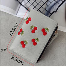 Load image into Gallery viewer, Fashion Women Short Wallet PU Leather Cherry Embroidery Coin Purse Card Holders Lady Girl Mini Money Bag