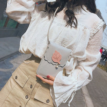 Load image into Gallery viewer, Women Faux Leather Solid Color Bag Leaf Shopping Crossbody Shoulder Handbag Gift