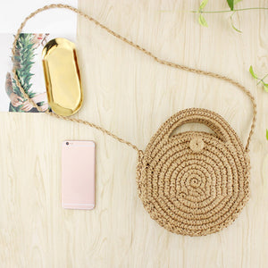 Fashion Women Round Grass Woven Zipper Closure Crossbody Shoulder Pouch Bag