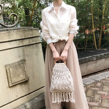 Load image into Gallery viewer, Handmade cotton woven wood handle womens handbags and purses hollow rope tassel beach female net straw tote evening clutch bags