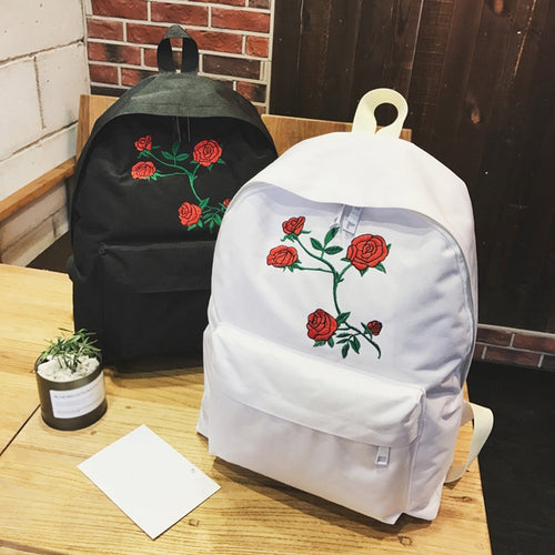 Travel Students Canvas Double Shoulder Bag Women Rose Flower Embroidery Backpack