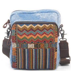 Vintage Style Ethnic Embroidery Canvas Shoulder Hippie Bag for Unisex