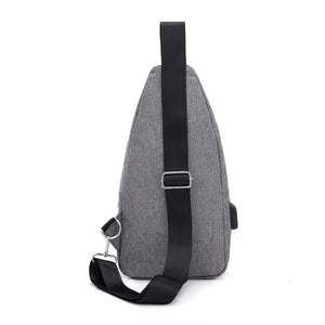 Men Casual USB Charging Earphone Hole Crossbody Shoulder Strap Chest Pack Bag