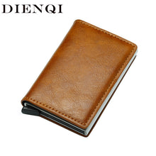 Load image into Gallery viewer, DIENQI Top Quality Wallet Men Money Bag Mini Purse Male Vintage Automatical Aluminium Rfid Card Holder Wallet Small Smart Wallet