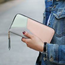 Load image into Gallery viewer, Fashion Women Zipper Color Blocking Long Wallet Pouch Card Cash Holder Purse