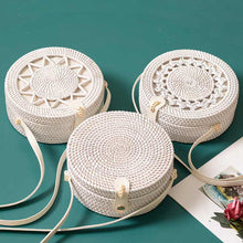 Load image into Gallery viewer, White Round Rattan Bags For Women Boho Beach Crossbody Bag Straw Handmade Woven Circle Shoulder Bag Female Handbags