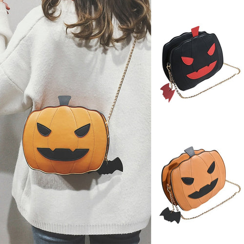 Funny Lovely Pumpkin Handbag Halloween Candy Bag Girls Shoulder Messenger Bag Ladies Messenger Shoulder Bag Casual Purse Handbag