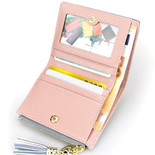 Load image into Gallery viewer, Tassel Zipper Purse Pink Woman's Wallet Double Color Leather Wallets for Euro Card Holder Money Bag