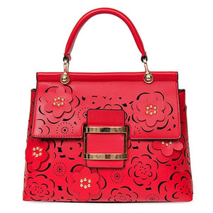 Spring Summer Ladies Handbags Hollow Out Lock Women Shoulder Bag Lady Floral Young Ladies Totes Big Shell Bag Elegant