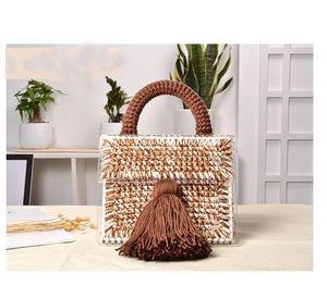 Japan Korea Designer Brand Lady Luxury Handbag Evening Bag Hand woven Wool Acrylic Transparent Satchel Purses Small Tassel Tote