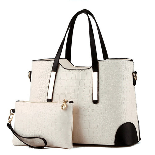 Women Bag Vintage Messenger Bags Shoulder Handbag Women Top-Handle Crocodile Pattern Composite Bag