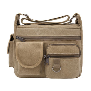 Retro Canvas Large Capacity Men's Outdoor Casual Single Shoulder Crossbody Bag