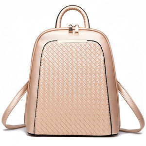 Rhombic Grid Faux Leather Tote Women Backpack Zippered Fashion Shoulders Bag