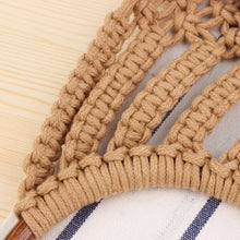 Load image into Gallery viewer, Hand-knitted Hollow Handbag Round Wooden Ring Rattan Handle Ladies Shopping Bag Cotton Rope Net Pocket Holiday Beach Bag