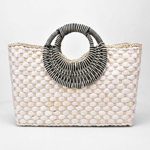 Load image into Gallery viewer, Hand basket shopping bag Black color Bali Island Hand Woven Bag Butterfly buckle Straw Bags Satchel Wind Bohemia Beach Bag
