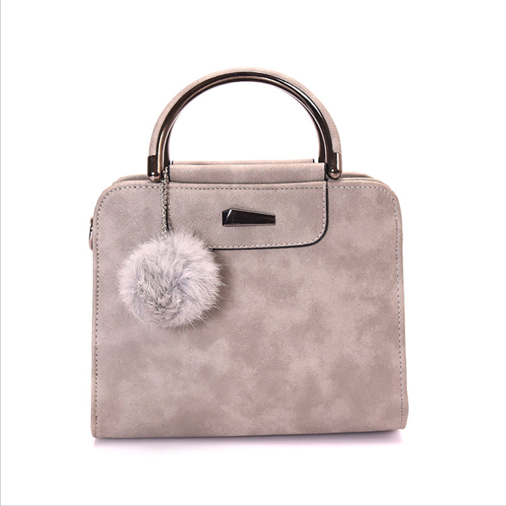 Fashion Women Plush Ball Faux Leather Shoulder Bag Tote Purse Crossbody  Handbag