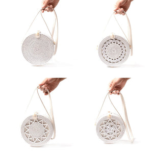 White Round Rattan Bags For Women Boho Beach Crossbody Bag Straw Handmade Woven Circle Shoulder Bag Female Handbags