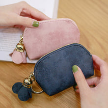 Load image into Gallery viewer, Fashion Faux Leather Rose Pendant Zipper Women Coin Purse Wallet Mini Bag