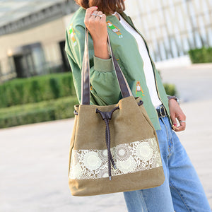 Ethnic Style Canvas Shopping Casual Single Shoulder Tote Bag Women Handbag