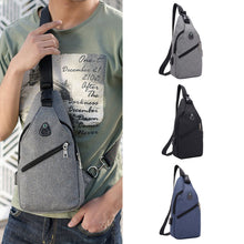 Load image into Gallery viewer, Men Casual USB Charging Earphone Hole Crossbody Shoulder Strap Chest Pack Bag
