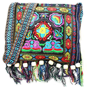 Hmong Vintage Chinese National Style Ethnic Shoulder Bag Embroidery Boho Hippie Tassel Tote Messenger